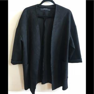 Black Suede Zara Smock Jacket